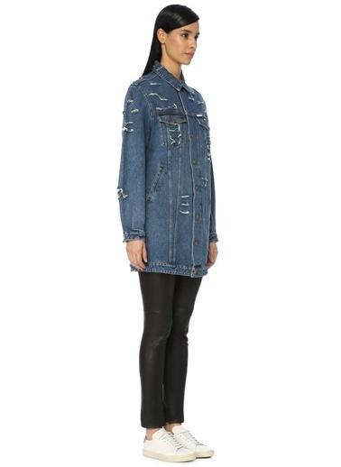 Forte Couture Uzun Jean Ceket Mavi